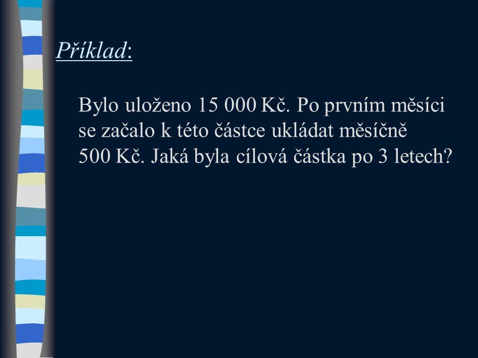 Příklad: Bylo uloženo 15 000 Kč. Po prvním měsíci se začalo k této částce ukládat měsíčně 500 Kč.
