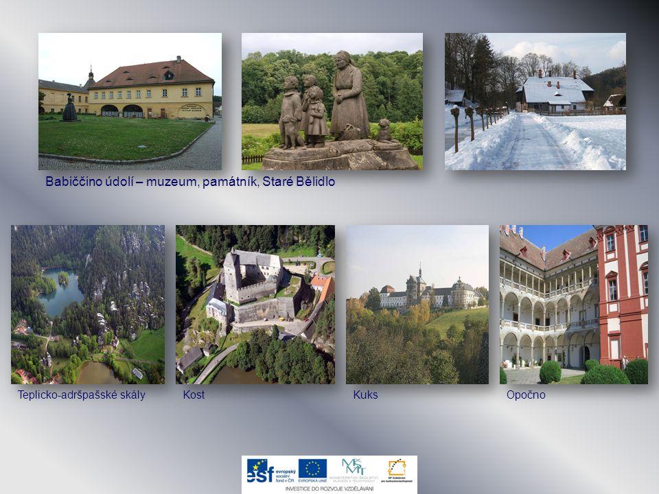 Babiččino údolí – muzeum, památník, Staré Bělidlo KuksTeplicko-adršpašské skályKostOpočno