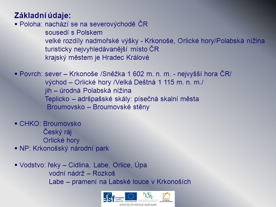 Základní údaje:  Poloha: nachází se na severovýchodě ČR sousedí s Polskem velké rozdíly nadmořské výšky - Krkonoše, Orlické hory/Polabská nížina turi