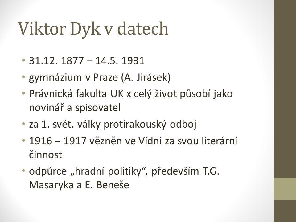 Viktor Dyk v datech 31.12.1877 – 14.5. 1931 gymnázium v Praze (A.