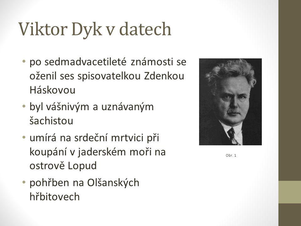 Viktor Dyk v datech po sedmadvacetileté známosti se oženil ses spisovatelkou Zdenkou Háskovou byl vášnivým a uznávaným šachistou umírá na srdeční mrtvici při koupání v jaderském moři na ostrově Lopud pohřben na Olšanských hřbitovech Obr.