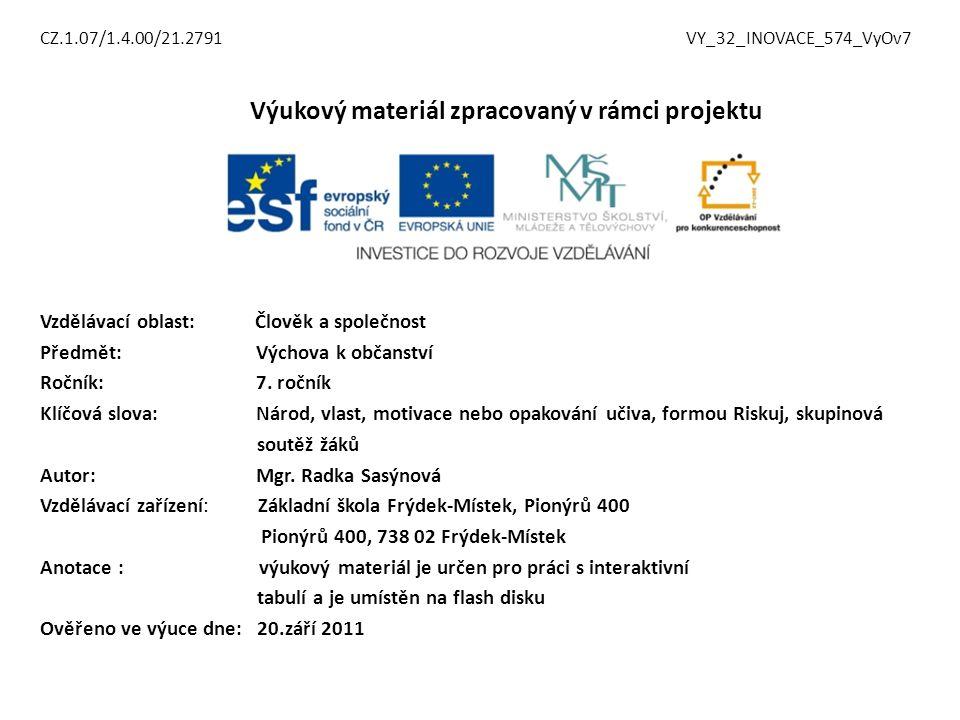 CZ.1.07/1.4.00/21.2791 VY_32_INOVACE_574_VyOv7 Výukový materiál zpracovaný v rámci projektu Vzdělávací oblast: Člověk a společnost Předmět: Výchova k