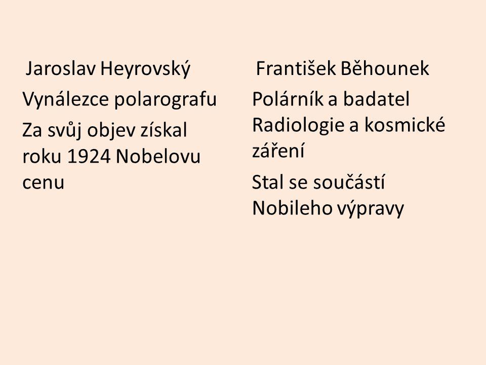Vynálezce polarografu Za svůj objev získal roku 1924 Nobelovu cenu Jaroslav Heyrovský Polárník a badatel Radiologie a kosmické záření Stal se součástí Nobileho výpravy František Běhounek