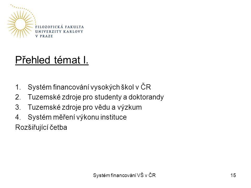 Systém financování VŠ v ČR15 Přehled témat I. 1.Systém financování vysokých škol v ČR 2.Tuzemské zdroje pro studenty a doktorandy 3.Tuzemské zdroje pr
