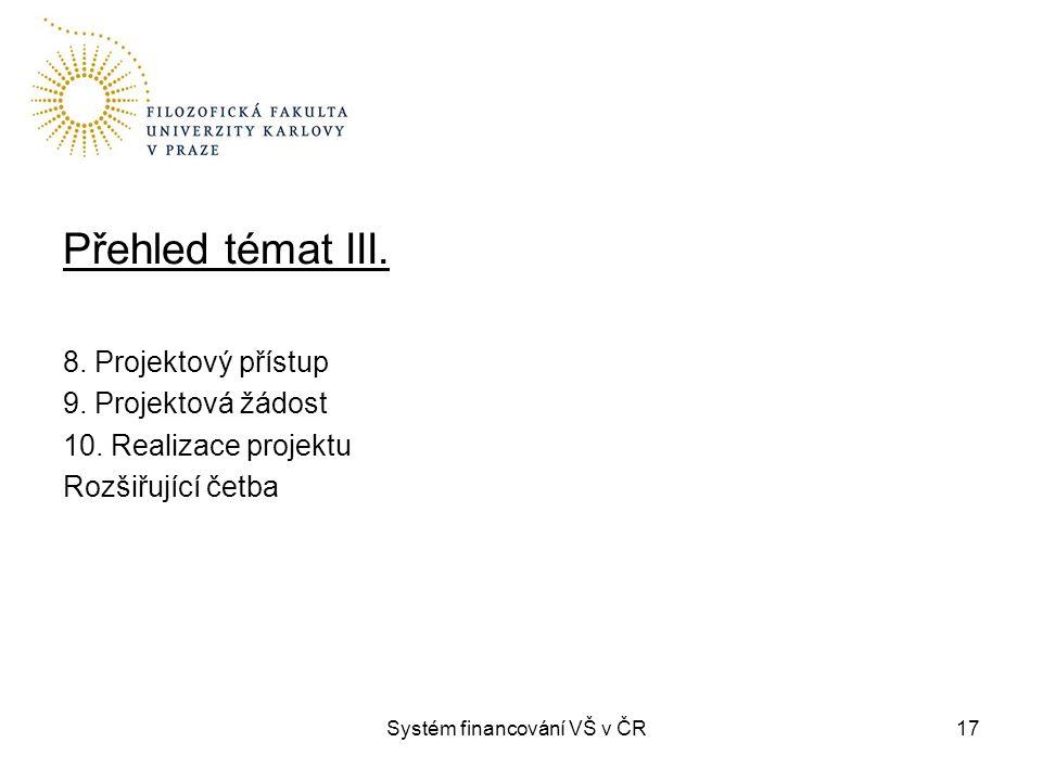 Systém financování VŠ v ČR17 Přehled témat III. 8. Projektový přístup 9. Projektová žádost 10. Realizace projektu Rozšiřující četba