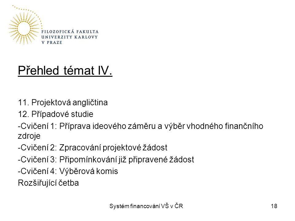 Systém financování VŠ v ČR18 Přehled témat IV. 11. Projektová angličtina 12. Případové studie -Cvičení 1: Příprava ideového záměru a výběr vhodného fi