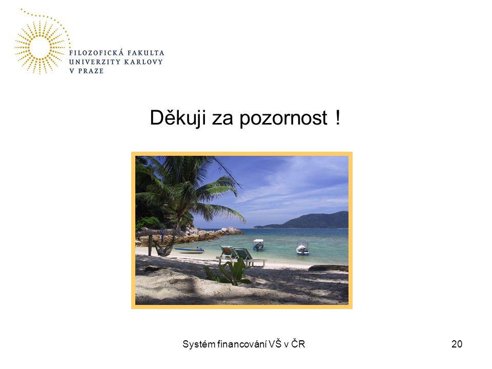 20 Děkuji za pozornost ! Systém financování VŠ v ČR
