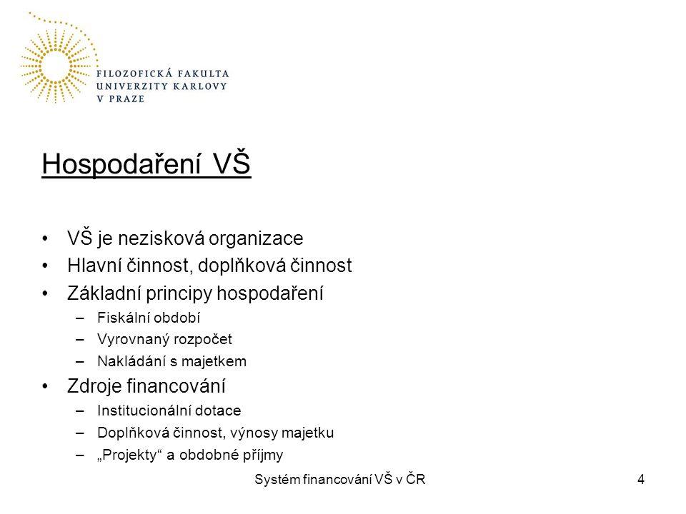 Systém financování VŠ v ČR4 Hospodaření VŠ VŠ je nezisková organizace Hlavní činnost, doplňková činnost Základní principy hospodaření –Fiskální období