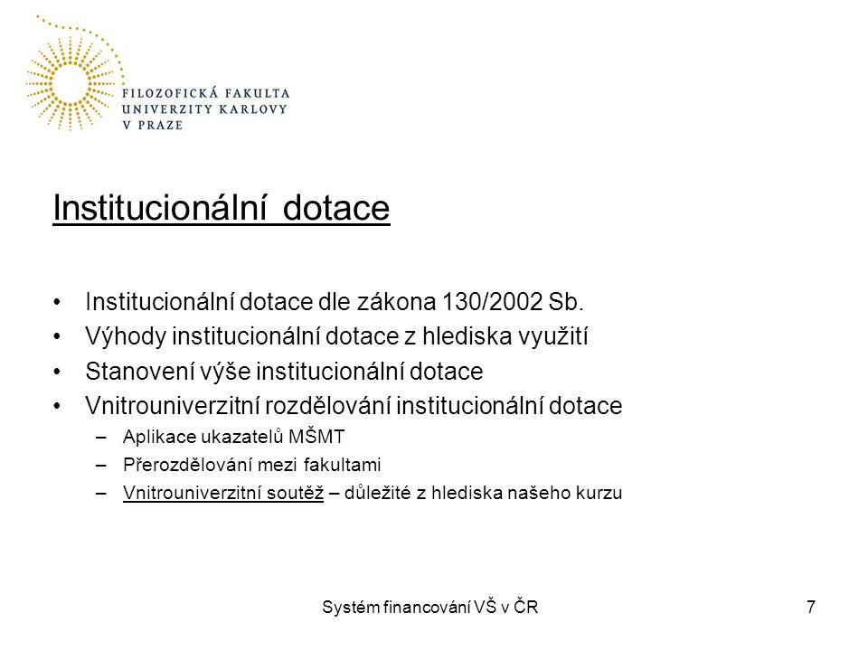 Systém financování VŠ v ČR7 Institucionální dotace Institucionální dotace dle zákona 130/2002 Sb.