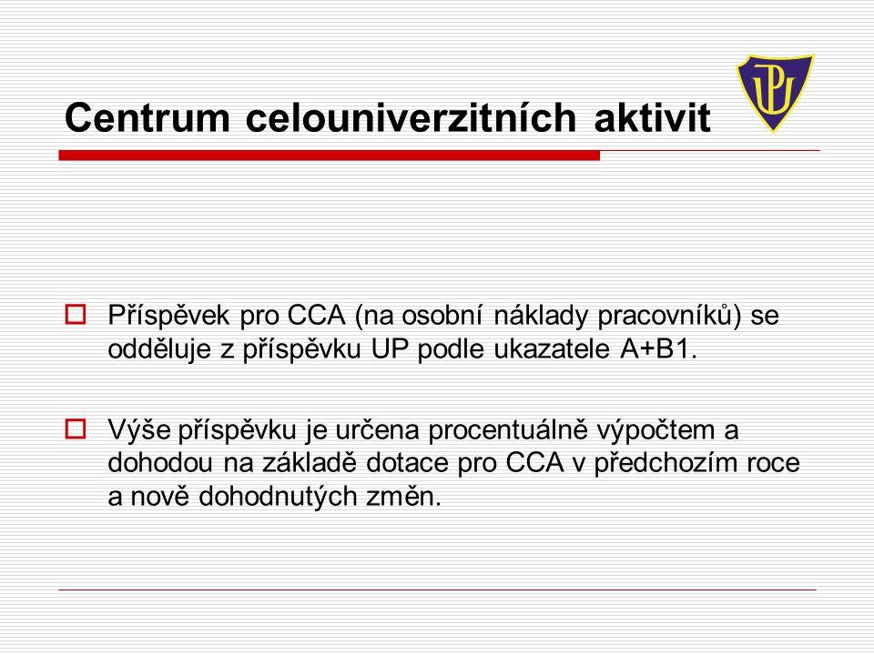 Centrum celouniverzitních aktivit  Příspěvek pro CCA (na osobní náklady pracovníků) se odděluje z příspěvku UP podle ukazatele A+B1.  Výše příspěvku