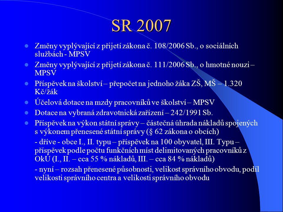 SR 2007 Změny vyplývající z přijetí zákona č.