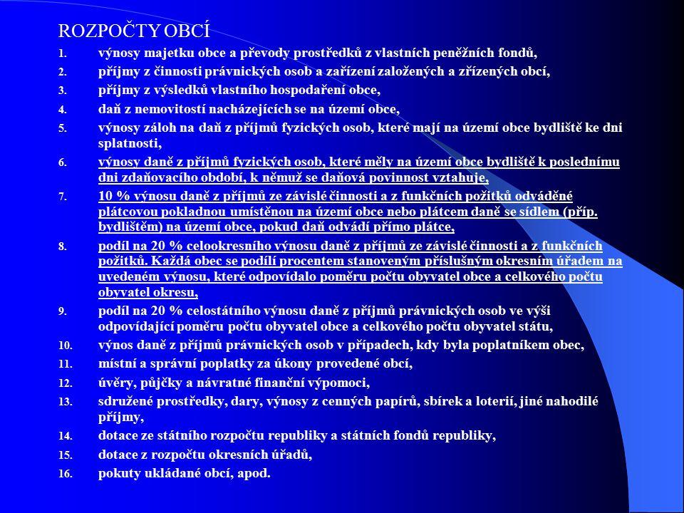 ROZPOČTY OBCÍ 1. výnosy majetku obce a převody prostředků z vlastních peněžních fondů, 2.