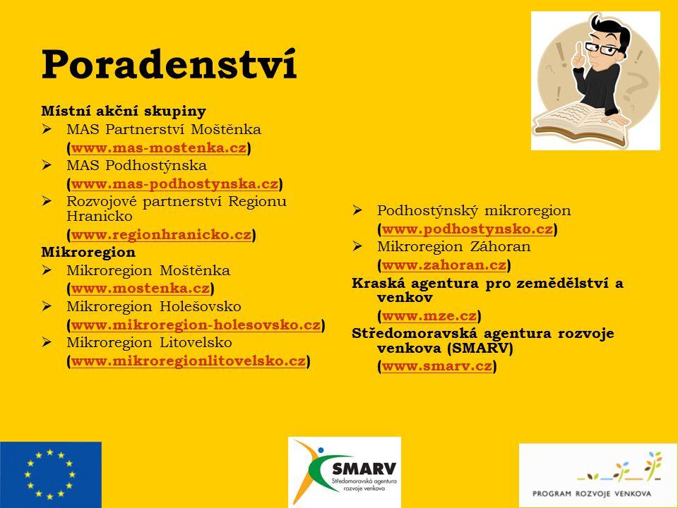 Poradenství Místní akční skupiny  MAS Partnerství Moštěnka (www.mas-mostenka.cz)www.mas-mostenka.cz  MAS Podhostýnska (www.mas-podhostynska.cz)www.mas-podhostynska.cz  Rozvojové partnerství Regionu Hranicko (www.regionhranicko.cz)www.regionhranicko.cz Mikroregion  Mikroregion Moštěnka (www.mostenka.cz)www.mostenka.cz  Mikroregion Holešovsko (www.mikroregion-holesovsko.cz)www.mikroregion-holesovsko.cz  Mikroregion Litovelsko (www.mikroregionlitovelsko.cz)www.mikroregionlitovelsko.cz  Podhostýnský mikroregion (www.podhostynsko.cz)www.podhostynsko.cz  Mikroregion Záhoran (www.zahoran.cz)www.zahoran.cz Kraská agentura pro zemědělství a venkov (www.mze.cz)www.mze.cz Středomoravská agentura rozvoje venkova (SMARV) (www.smarv.cz)www.smarv.cz