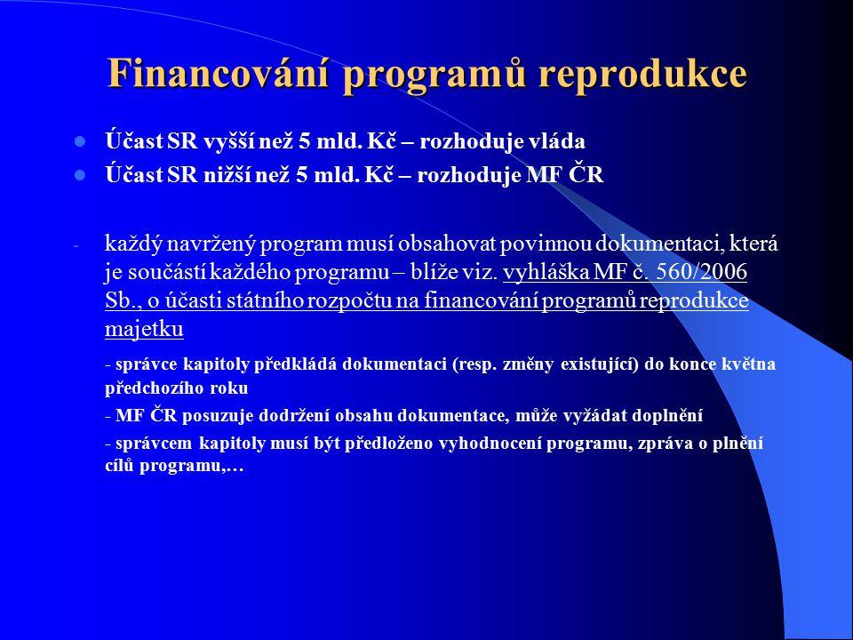 Financování programů reprodukce Účast SR vyšší než 5 mld. Kč – rozhoduje vláda Účast SR nižší než 5 mld. Kč – rozhoduje MF ČR - každý navržený program