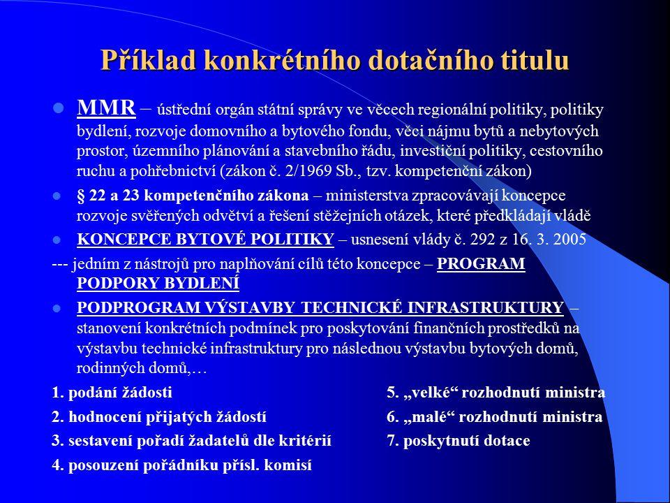 Příklad konkrétního dotačního titulu MMR – ústřední orgán státní správy ve věcech regionální politiky, politiky bydlení, rozvoje domovního a bytového