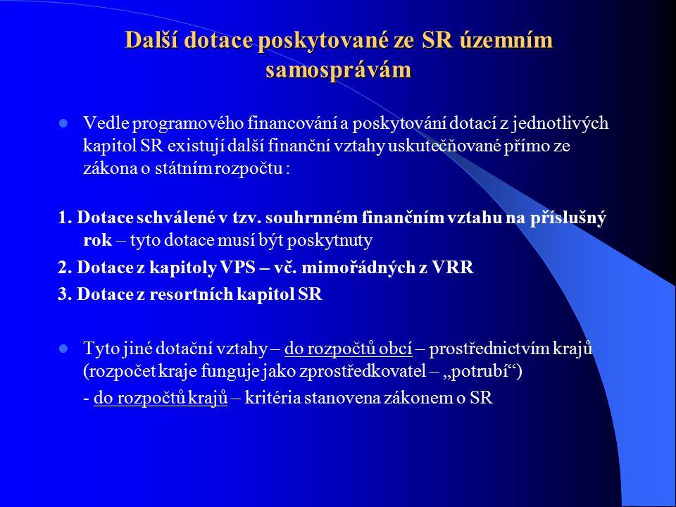 Další dotace poskytované ze SR územním samosprávám Vedle programového financování a poskytování dotací z jednotlivých kapitol SR existují další finanč