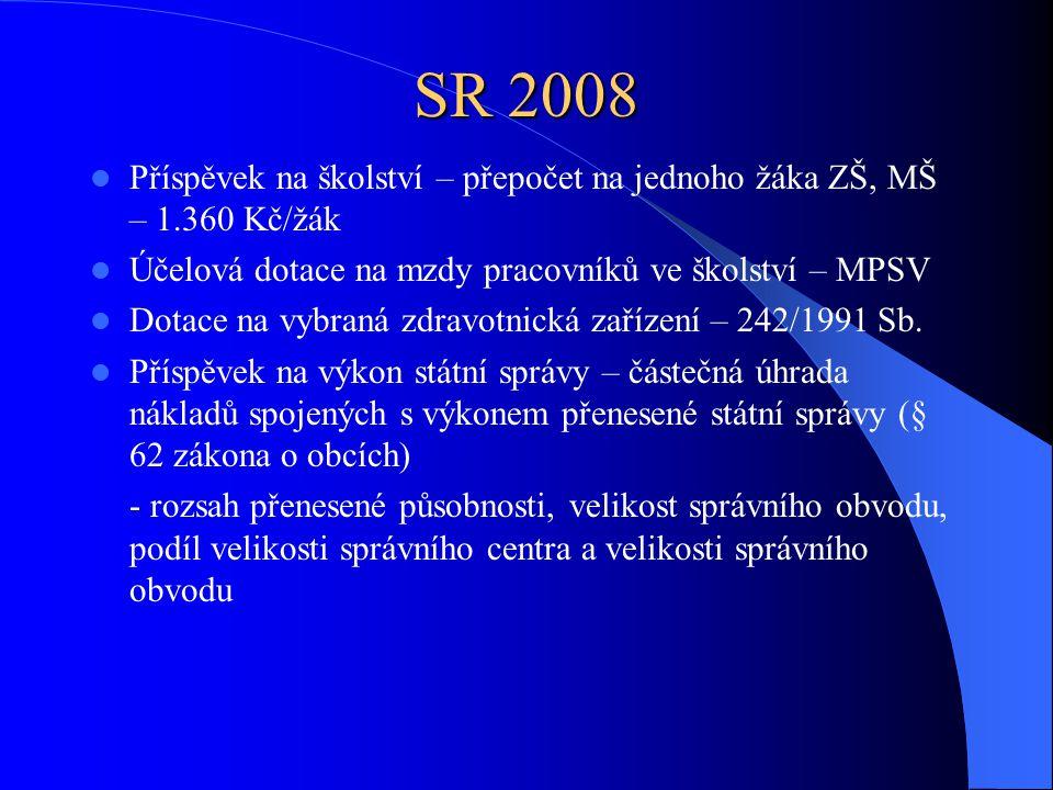 SR 2008 Příspěvek na školství – přepočet na jednoho žáka ZŠ, MŠ – 1.360 Kč/žák Účelová dotace na mzdy pracovníků ve školství – MPSV Dotace na vybraná