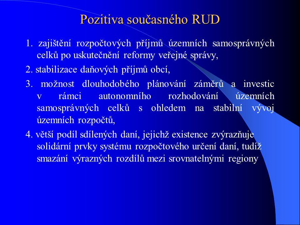 Pozitiva současného RUD 1. zajištění rozpočtových příjmů územních samosprávných celků po uskutečnění reformy veřejné správy, 2. stabilizace daňových p