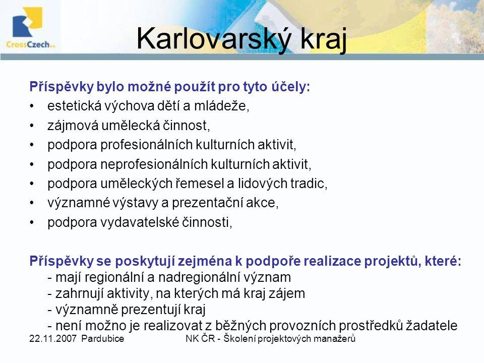 22.11.2007 PardubiceNK ČR - Školení projektových manažerů Přihlášky do výběrového dotačního řízení přijímá ministerstvo nejpozději do 5.