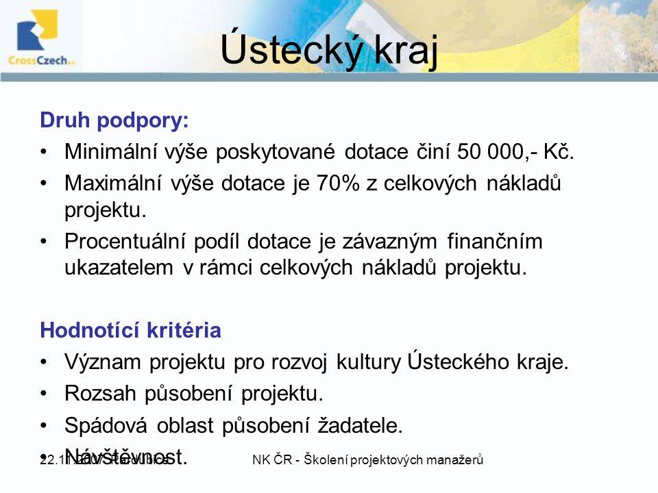 22.11.2007 PardubiceNK ČR - Školení projektových manažerů Ústecký kraj Druh podpory: Minimální výše poskytované dotace činí 50 000,- Kč.