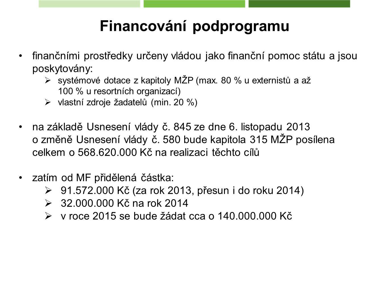 Financování podprogramu finančními prostředky určeny vládou jako finanční pomoc státu a jsou poskytovány:  systémové dotace z kapitoly MŽP (max.