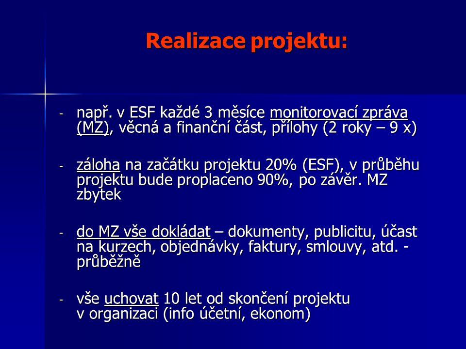 Realizace projektu: - např.