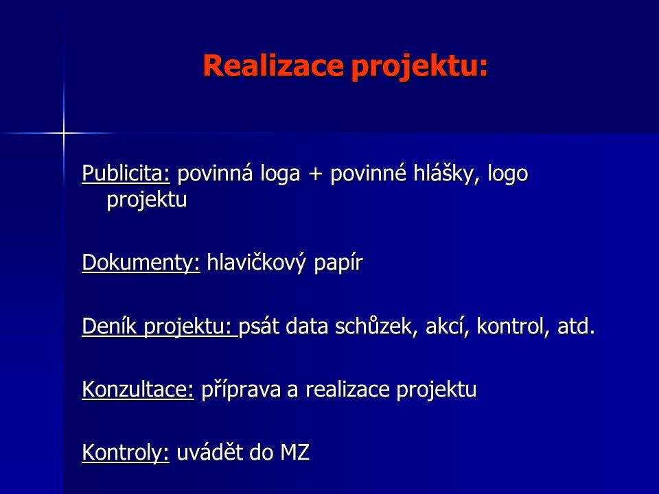 Realizace projektu: Publicita: povinná loga + povinné hlášky, logo projektu Dokumenty: hlavičkový papír Deník projektu: psát data schůzek, akcí, kontrol, atd.