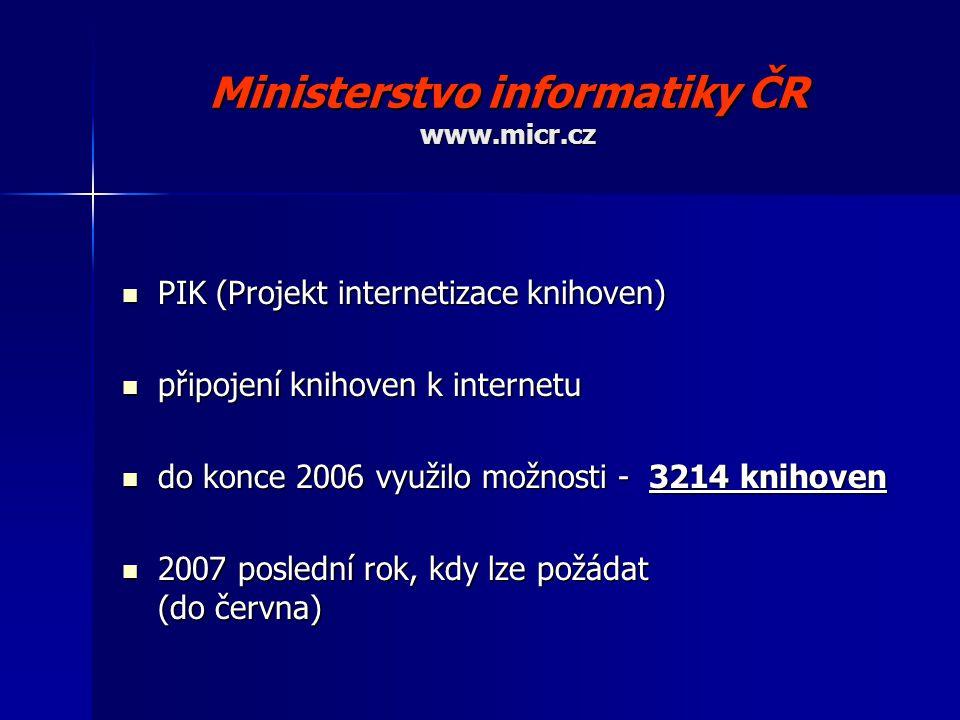 Ministerstvo informatiky ČR www.micr.cz PIK (Projekt internetizace knihoven) PIK (Projekt internetizace knihoven) připojení knihoven k internetu připojení knihoven k internetu do konce 2006 využilo možnosti - 3214 knihoven do konce 2006 využilo možnosti - 3214 knihoven 2007 poslední rok, kdy lze požádat (do června) 2007 poslední rok, kdy lze požádat (do června)