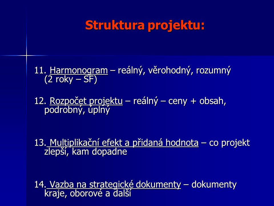 Struktura projektu: 11. Harmonogram – reálný, věrohodný, rozumný (2 roky – SF) 12.