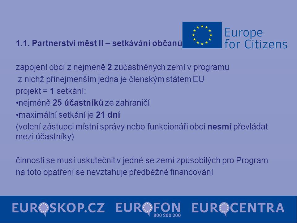 1.1. Partnerství měst II – setkávání občanů … zapojení obcí z nejméně 2 zúčastněných zemí v programu z nichž přinejmenším jedna je členským státem EU
