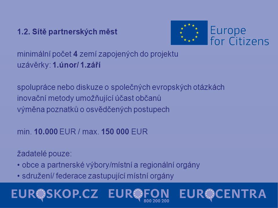 1.2. Sítě partnerských měst minimální počet 4 zemí zapojených do projektu uzávěrky: 1.únor/ 1.září spolupráce nebo diskuze o společných evropských otá