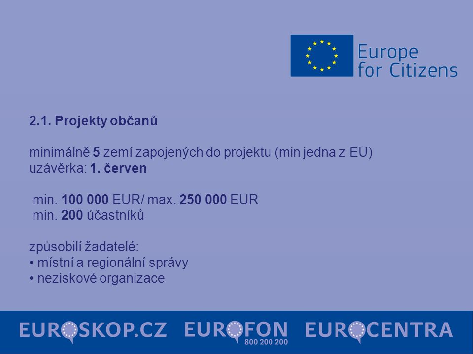 2.1. Projekty občanů minimálně 5 zemí zapojených do projektu (min jedna z EU) uzávěrka: 1. červen min. 100 000 EUR/ max. 250 000 EUR min. 200 účastník