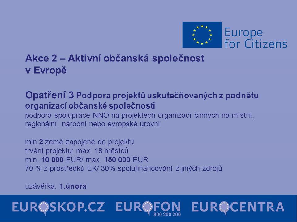 Opatření 3 Podpora projektů uskutečňovaných z podnětu organizací občanské společnosti podpora spolupráce NNO na projektech organizací činných na místn