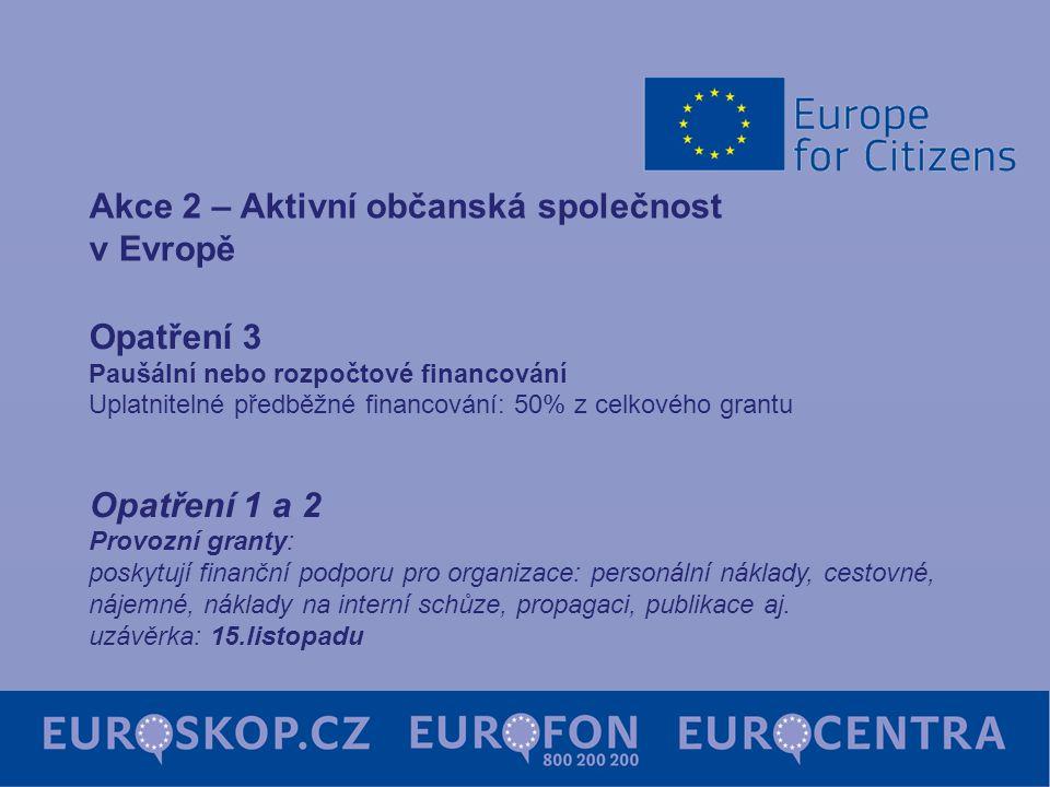 Opatření 3 Paušální nebo rozpočtové financování Uplatnitelné předběžné financování: 50% z celkového grantu Opatření 1 a 2 Provozní granty: poskytují f