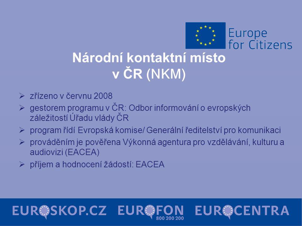 Národní kontaktní místo v ČR (NKM)  zřízeno v červnu 2008  gestorem programu v ČR: Odbor informování o evropských záležitostí Úřadu vlády ČR  program řídí Evropská komise/ Generální ředitelství pro komunikaci  prováděním je pověřena Výkonná agentura pro vzdělávání, kulturu a audiovizi (EACEA)  příjem a hodnocení žádostí: EACEA