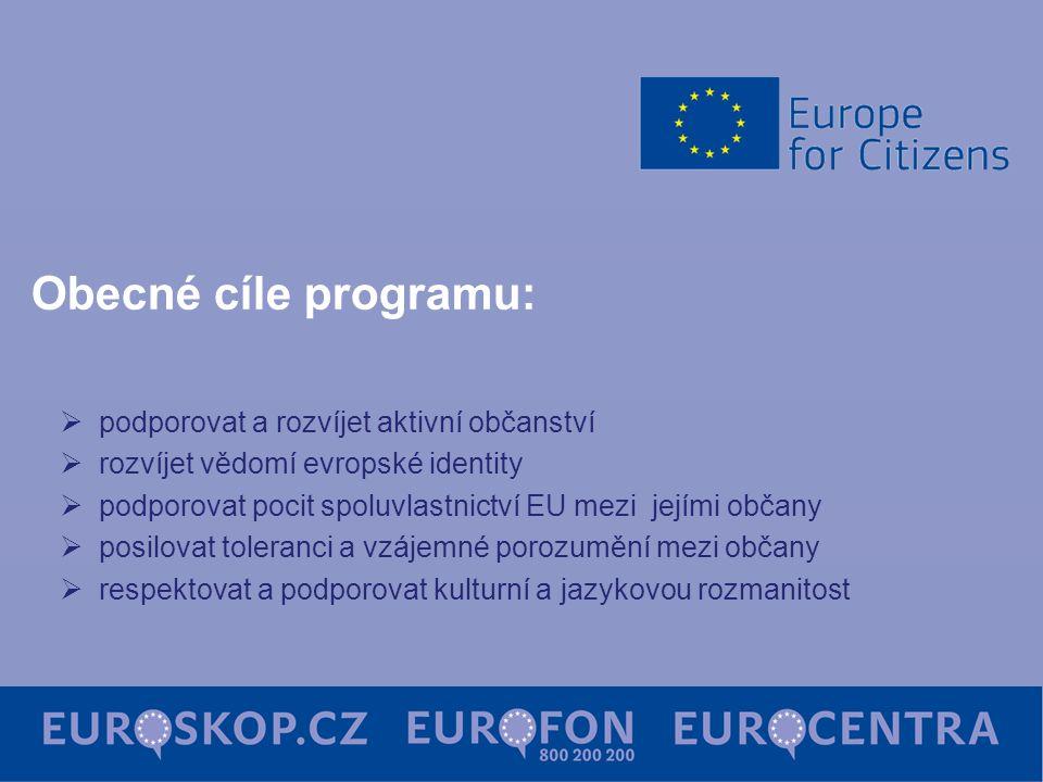 Obecné cíle programu:  podporovat a rozvíjet aktivní občanství  rozvíjet vědomí evropské identity  podporovat pocit spoluvlastnictví EU mezi jejími občany  posilovat toleranci a vzájemné porozumění mezi občany  respektovat a podporovat kulturní a jazykovou rozmanitost