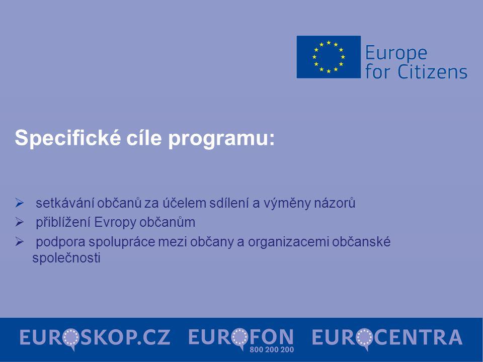 Specifické cíle programu:  setkávání občanů za účelem sdílení a výměny názorů  přiblížení Evropy občanům  podpora spolupráce mezi občany a organiza
