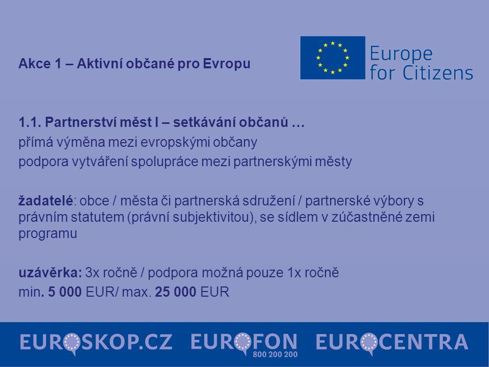 Akce 1 – Aktivní občané pro Evropu 1.1. Partnerství měst I – setkávání občanů … přímá výměna mezi evropskými občany podpora vytváření spolupráce mezi