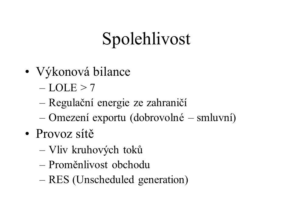 Spolehlivost Výkonová bilance –LOLE > 7 –Regulační energie ze zahraničí –Omezení exportu (dobrovolné – smluvní) Provoz sítě –Vliv kruhových toků –Proměnlivost obchodu –RES (Unscheduled generation)