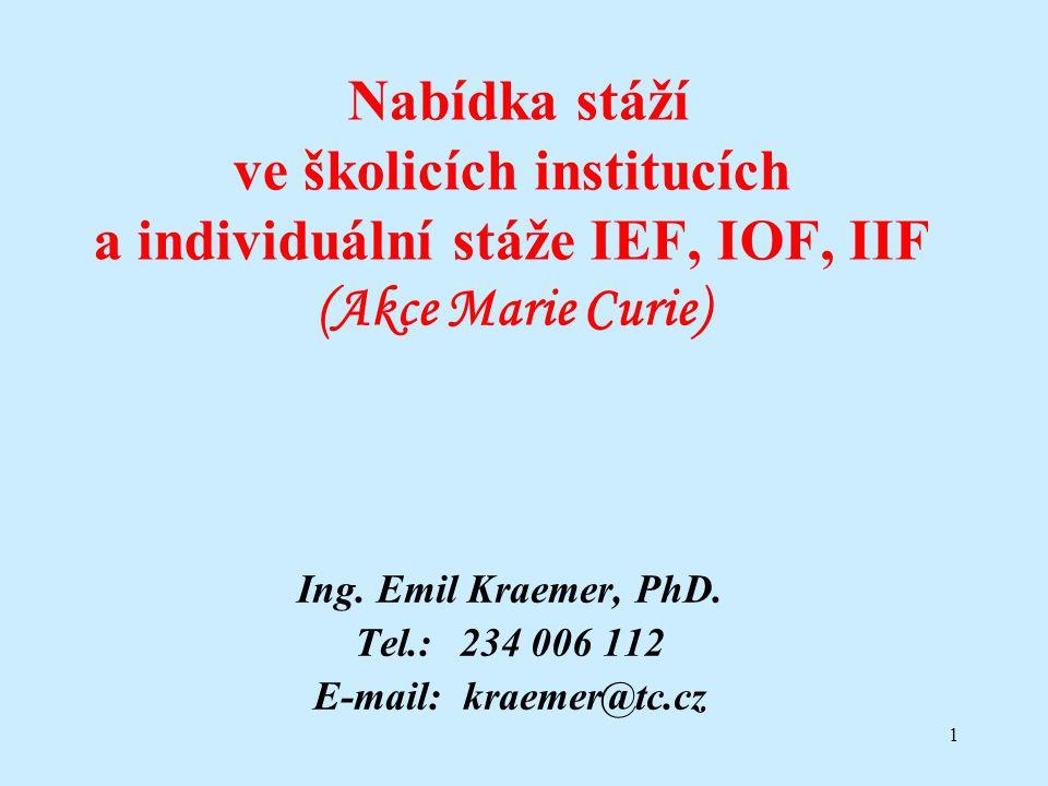 1 Nabídka stáží ve školicích institucích a individuální stáže IEF, IOF, IIF (Akce Marie Curie) Ing.