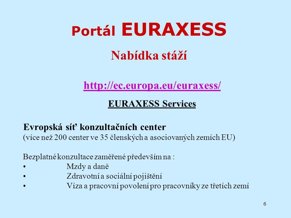 6 Portál EURAXESS Nabídka stáží http://ec.europa.eu/euraxess/ EURAXESS Services Evropská síť konzultačních center (více než 200 center ve 35 členských a asociovaných zemích EU) Bezplatné konzultace zaměřené především na : Mzdy a daně Zdravotní a sociální pojištění Víza a pracovní povolení pro pracovníky ze třetích zemí