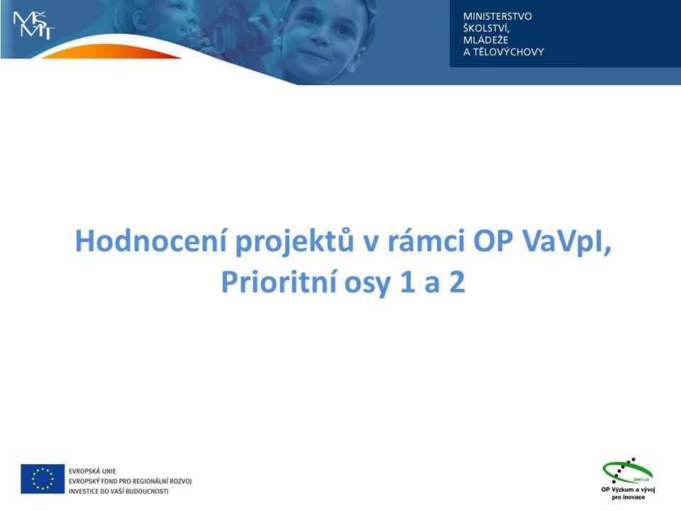 Hodnocení projektů v rámci OP VaVpI, Prioritní osy 1 a 2