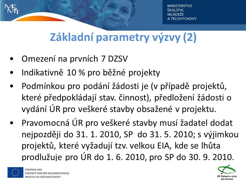 Základní parametry výzvy (2) Omezení na prvních 7 DZSV Indikativně 10 % pro běžné projekty Podmínkou pro podání žádosti je (v případě projektů, které předpokládají stav.