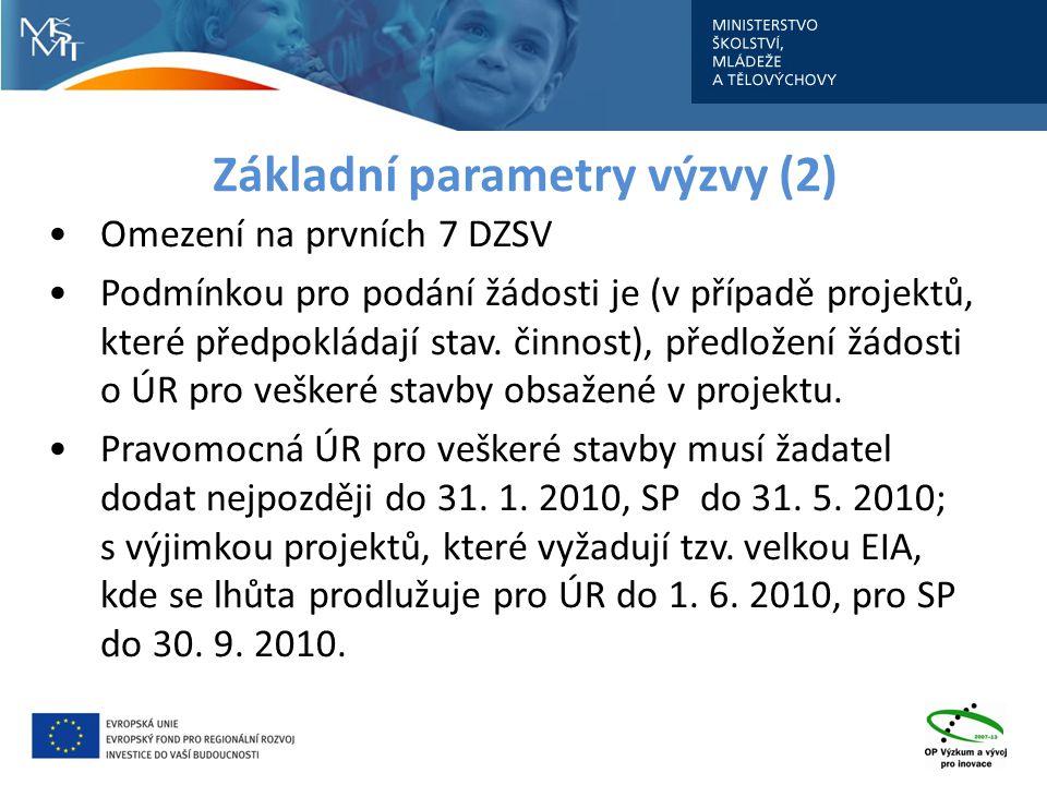 Základní parametry výzvy (2) Omezení na prvních 7 DZSV Podmínkou pro podání žádosti je (v případě projektů, které předpokládají stav.