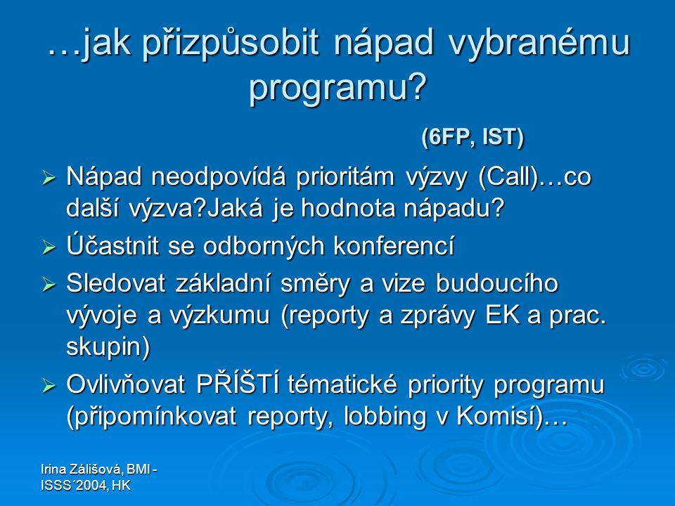 Irina Zálišová, BMI - ISSS´2004, HK …jak přizpůsobit nápad vybranému programu? (6FP, IST)  Nápad neodpovídá prioritám výzvy (Call)…co další výzva?Jak