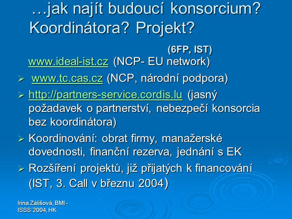Irina Zálišová, BMI - ISSS´2004, HK …jak najít budoucí konsorcium? Koordinátora? Projekt? (6FP, IST) www.ideal-ist.cz (NCP- EU network) www.ideal-ist.