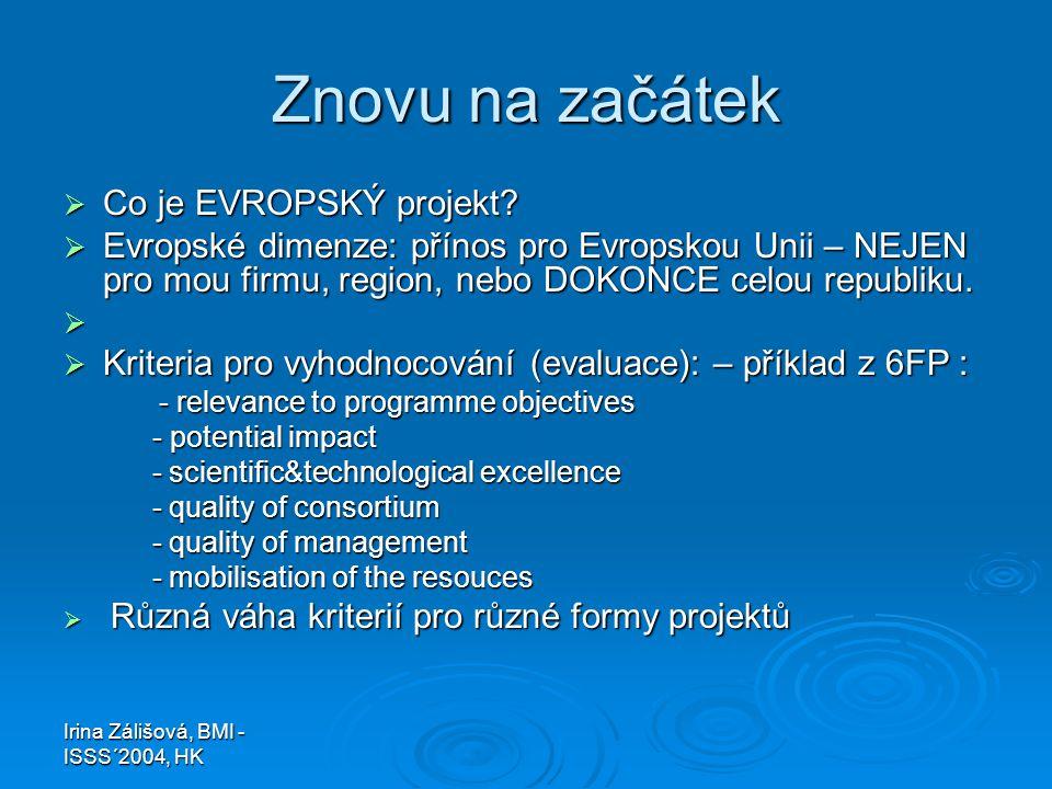 Irina Zálišová, BMI - ISSS´2004, HK Znovu na začátek  Co je EVROPSKÝ projekt?  Evropské dimenze: přínos pro Evropskou Unii – NEJEN pro mou firmu, re