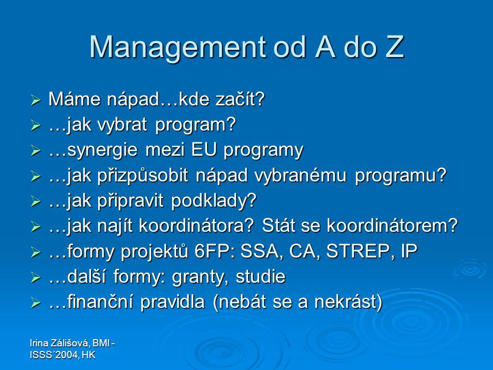 Irina Zálišová, BMI - ISSS´2004, HK Management od A do Z  Máme nápad…kde začít?  …jak vybrat program?  …synergie mezi EU programy  …jak přizpůsobi