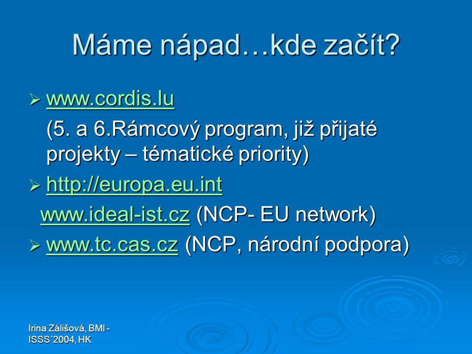 Irina Zálišová, BMI - ISSS´2004, HK Máme nápad…kde začít?  www.cordis.lu www.cordis.lu (5. a 6.Rámcový program, již přijaté projekty – tématické prio