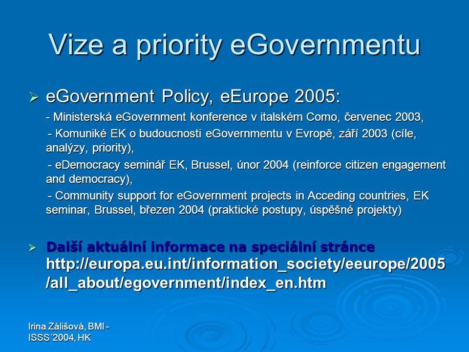 Irina Zálišová, BMI - ISSS´2004, HK Vize a priority eGovernmentu  eGovernment Policy, eEurope 2005: - Ministerská eGovernment konference v italském Como, červenec 2003, - Komuniké EK o budoucnosti eGovernmentu v Evropě, září 2003 (cíle, analýzy, priority), - Komuniké EK o budoucnosti eGovernmentu v Evropě, září 2003 (cíle, analýzy, priority), - eDemocracy seminář EK, Brussel, únor 2004 (reinforce citizen engagement and democracy), - eDemocracy seminář EK, Brussel, únor 2004 (reinforce citizen engagement and democracy), - Community support for eGovernment projects in Acceding countries, EK seminar, Brussel, březen 2004 (praktické postupy, úspěšné projekty) - Community support for eGovernment projects in Acceding countries, EK seminar, Brussel, březen 2004 (praktické postupy, úspěšné projekty)  Další aktuální informace na speciální stránce http://europa.eu.int/information_society/eeurope/2005 /all_about/egovernment/index_en.htm